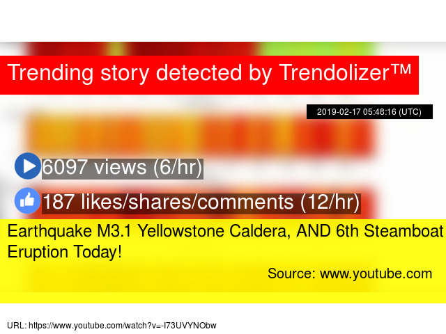 Earthquake M3 1 Yellowstone Caldera, AND 6th Steamboat