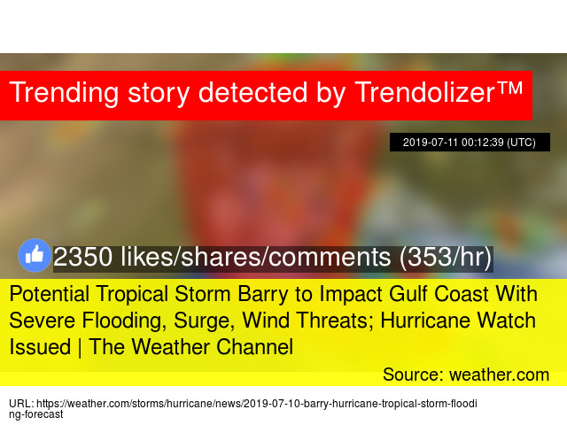 Potential Tropical Storm Barry to Impact Gulf Coast With
